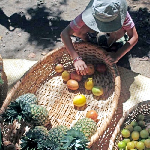 Boy with fruit at Saturday Market
