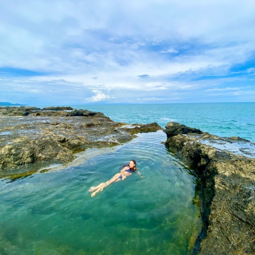woman swimming in Palmares Tide Pool