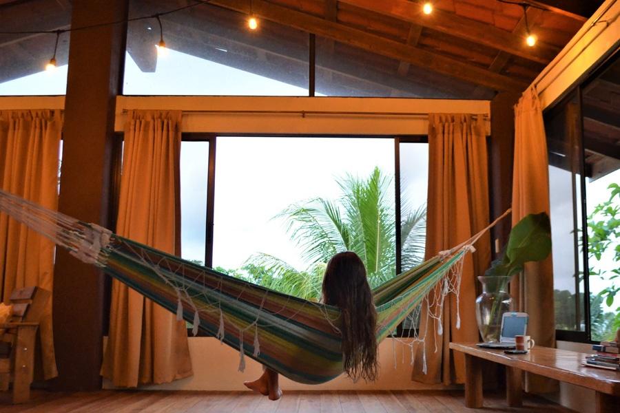 woman relaxing hammock